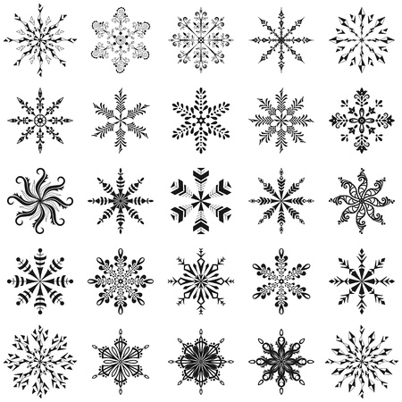 Christmas decoration  set snowflakes, black contour on white background Vector