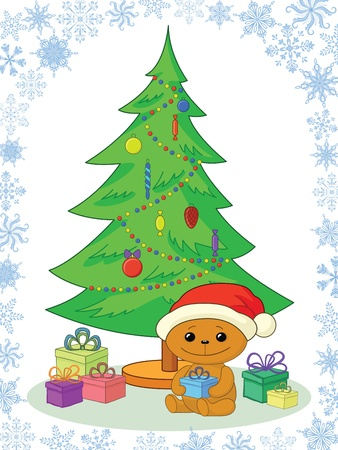 Holiday cartoon, teddy bear Santa Claus with gifts under the Christmas tree Vector
