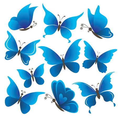Set abstract blue butterflies with opened wings on white background