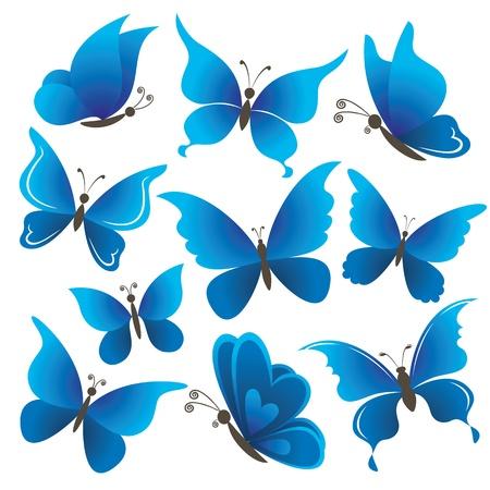 Stel abstracte blauwe vlinders met geopende vleugels op witte achtergrond