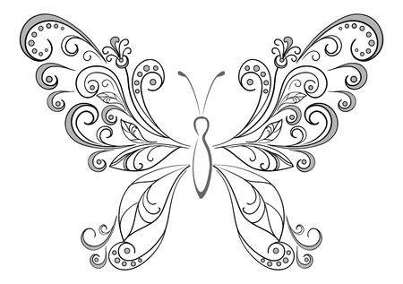 white butterfly: Abstract butterfly, black contour silhouettes on white background
