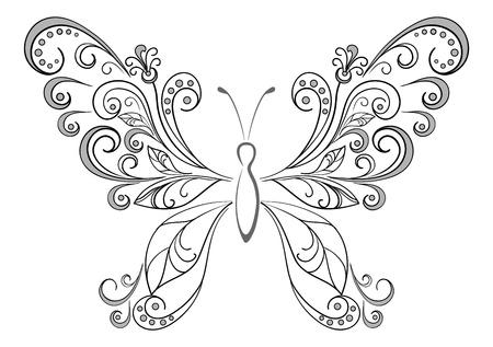 tattoo butterfly: Astratto farfalla, contorno nero sagome su sfondo bianco