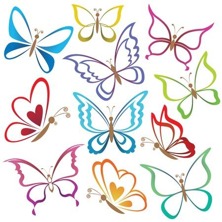 farfalla tatuaggio: Impostare astratte farfalle, sagome di contorno colorate su sfondo bianco