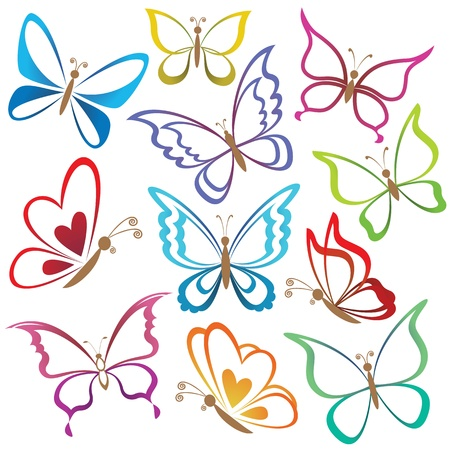 butterfly wings: Set abstract butterflies, coloured contour silhouettes on white background