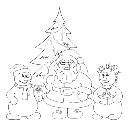 Holiday cartoon  Santa Claus, Christmas tree and snowmans with a gift boxes, black contour on white background