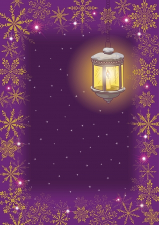 Christmas card  vintage street lamp on a decorative bracket against the starry sky, with a frame of snowflakes Stock Vector - 15259597
