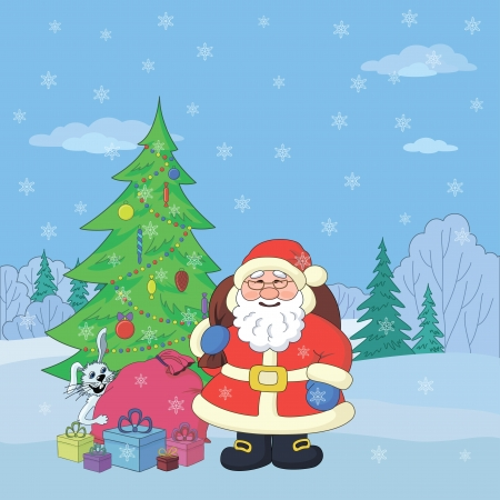 Christmas holiday cartoon  Santa Claus with gifts and a rabbit in the winter forest Vector
