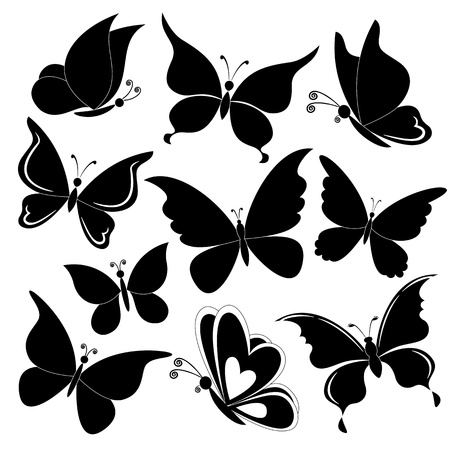 Various butterflies, black silhouettes on white background