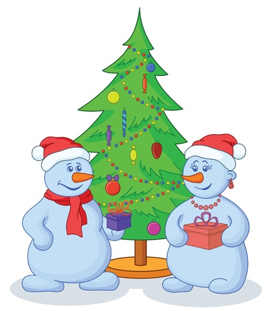 Cartoon, snowmans with holiday gifts under the Christmas tree