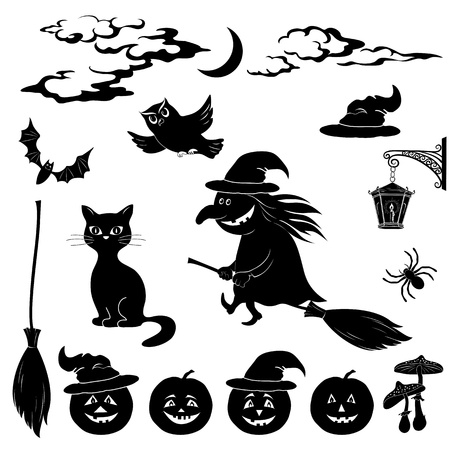 moon  owl  silhouette: Halloween cartoon