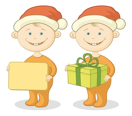 Cartoon children in a Santa Claus hats with a holiday gift box and plate Vector