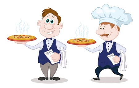Cartoon waiters deliver a delicious hot pizza to the client, isolated on white background  Vector Vector
