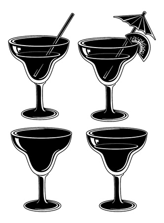 tipple: Glasses with drink, set  empty, with a drink, with a kiwifruit and straw  Symbolical pictogram, black contour on white background Illustration