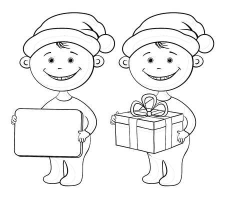 black boys: Cartoon children in a Santa Claus hats with a holiday gift box and plate, black contour on white background  Vector Illustration