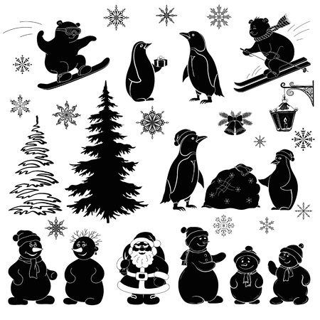 Christmas cartoon, set black silhouettes on white background  Santa Claus, fir tree, teddy bears, penguins, sportsmans, snowflakes, lantern  Vector