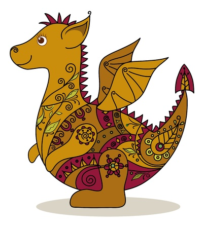 Cartoon Dragon with a floral pattern  Symbol of holiday East New year  Vector