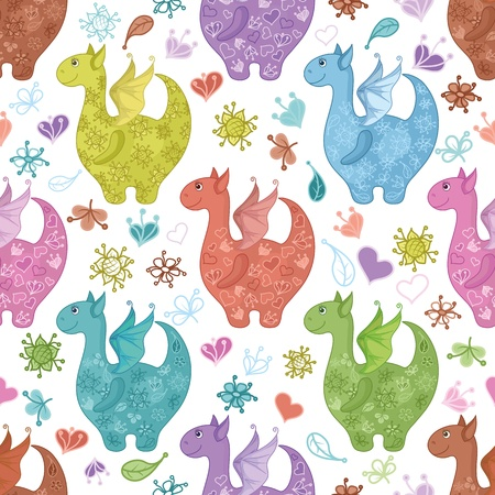 Seamless background, cartoon colorful Dragons, flowers and hearts   Vector