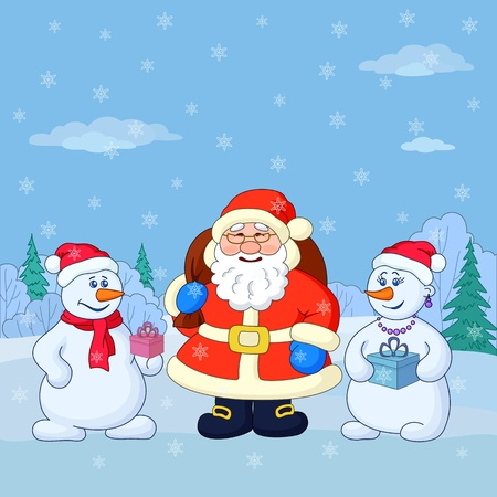 Holiday cartoon  Santa Claus and snowmans with a gift boxes in a winter forest