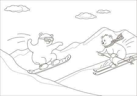 Teddybären für eine Fahrt gehen auf einem Snowboard und Ski gegen Berge, Konturen Standard-Bild - 15572986