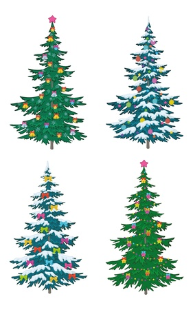 Set Christmas holiday trees with decorations, isolated on white