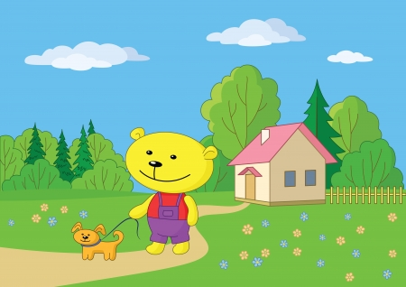 Cartoon teddy bear walking with a dog near a village house   Vector
