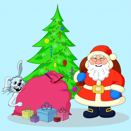 Holiday cartoon  Santa Claus, Christmas tree, rabbit and gifts  illustration Vector