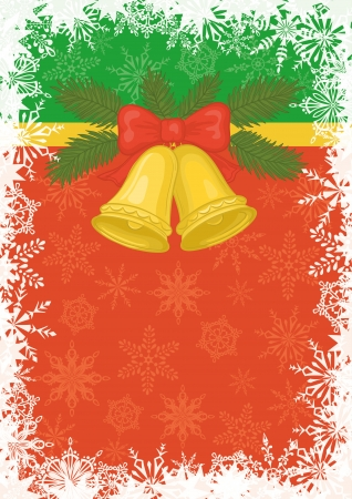 Background for Christmas holiday design  gold bells, pine branch and snowflakes  Vector