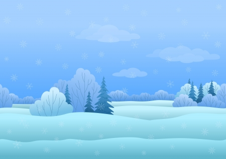 Seamless background, Christmas landscape  winter snowy forest Çizim