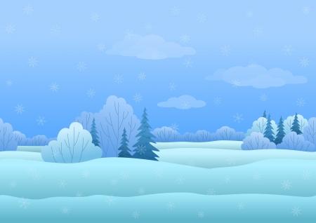 paysage dessin anim�: Seamless, paysage de No�l en hiver for�t enneig�e