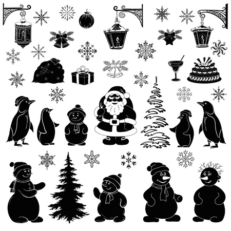 Christmas cartoon, set black silhouettes on white background Çizim