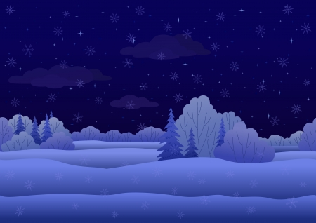 Seamless background, Christmas landscape  night winter snowy forest