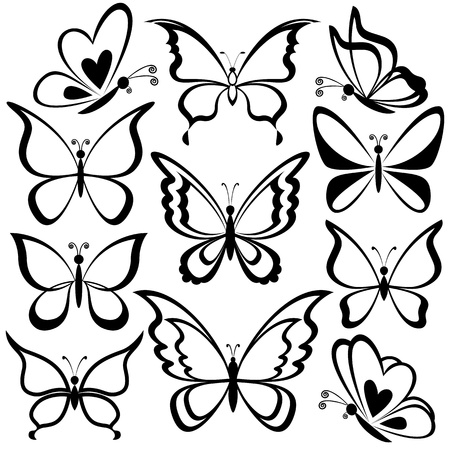 simple line drawing: Various butterflies, black contours on white background.  Illustration