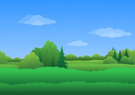 conifer: Seamless background, cartoon summer landscape: green forest and blue sky with white clouds.
