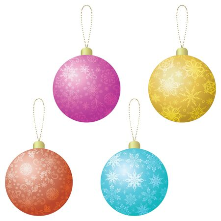 Christmas holiday decoration, set colorful balls with floral pattern and snowflakes   Stock Vector - 15859129