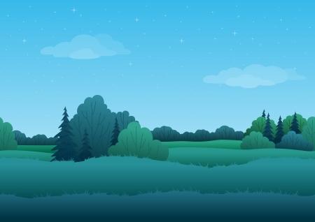 Naadloze achtergrond, cartoon zomer ochtend landschap bos en de hemel met sterren Vector