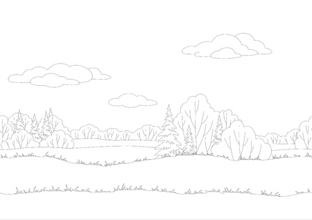coppice: Seamless background, landscape, forest, black contour on white background  Vector Illustration