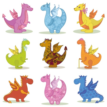 Set different cartoon colorful Dragons on white background  Vector