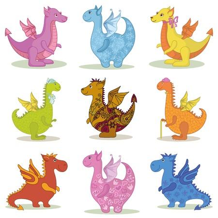 Stel verschillende cartoon kleurrijke draken op witte achtergrond Vector