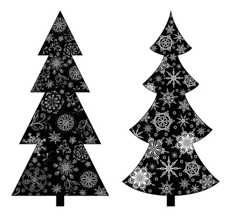tree toys: Christmas trees, holiday symbol, black silhouette on white background, with contours snowflakes and flowers  Vector