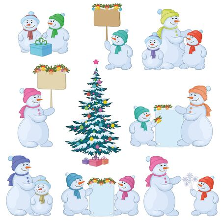 Christmas tree and set cartoon snowman with gifts and a banners for your text Vector
