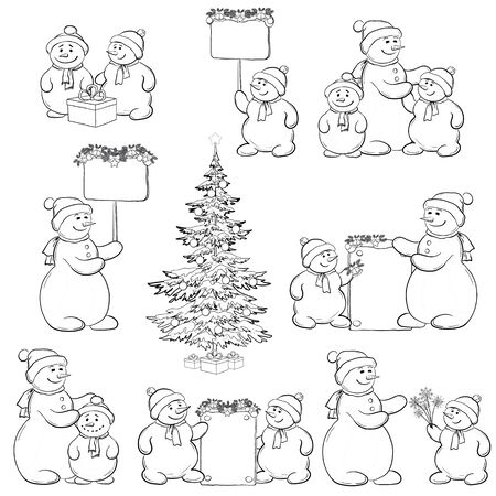 Christmas tree and set cartoon snowman with gifts and a banners for your text, black contour on white background   Vector
