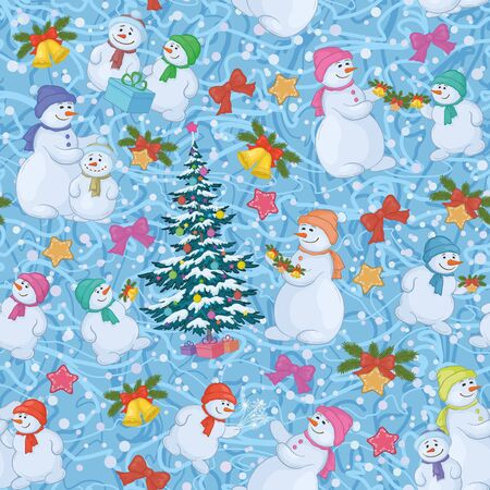 Seamless holiday background  Christmas tree and cartoon snowman with gifts