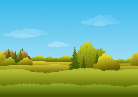 coniferous tree: Seamless background, cartoon autumn landscape  forest and sky
