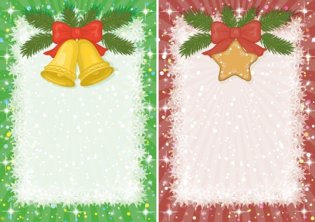Backgrounds for Christmas holiday design  gold bells, star, pine branch, snowflakes and beams   Vector