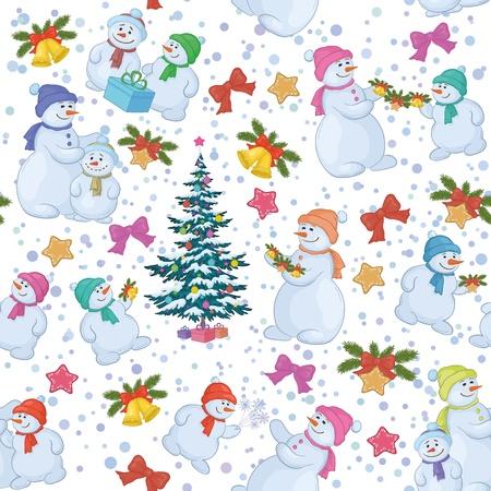 Seamless vacaciones de Navidad árbol y muñeco de nieve de dibujos animados con regalos