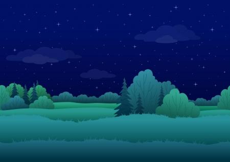 Naadloze achtergrond, cartoon zomernacht landschap bos en de hemel met sterren