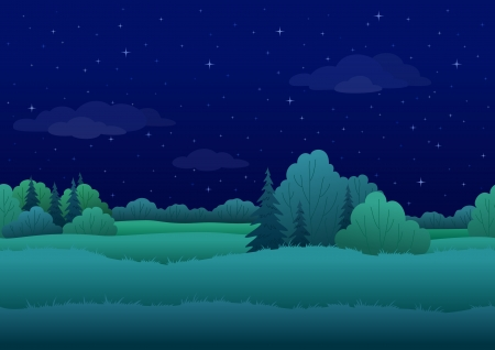 Seamless background, cartoon summer night landscape  forest and sky with stars