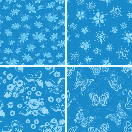 Set abstract seamless backgrounds, symbolical flowers and butterflies on blue Vector
