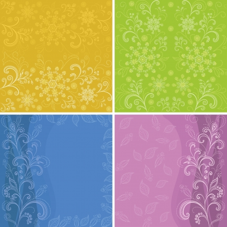 symbolical: Set abstract floral backgrounds, symbolical flowers and patterns