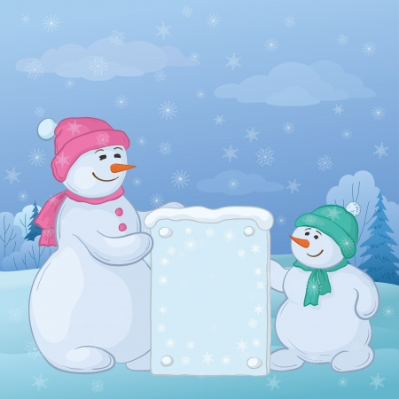 Snowman mother and son in the winter forest with a banner for your text   Stock Vector - 16359611